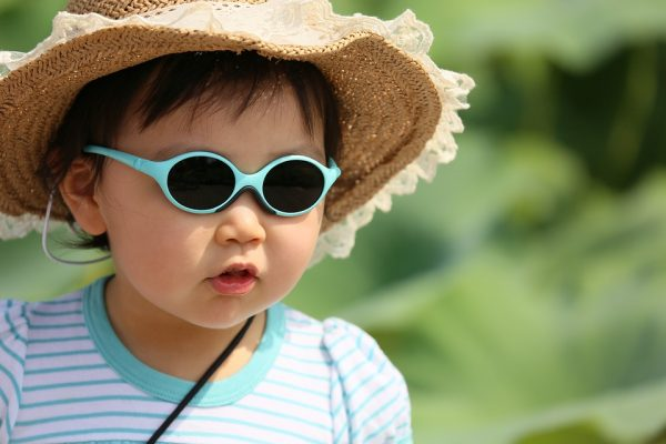 Little girl in sunglasses and a hat